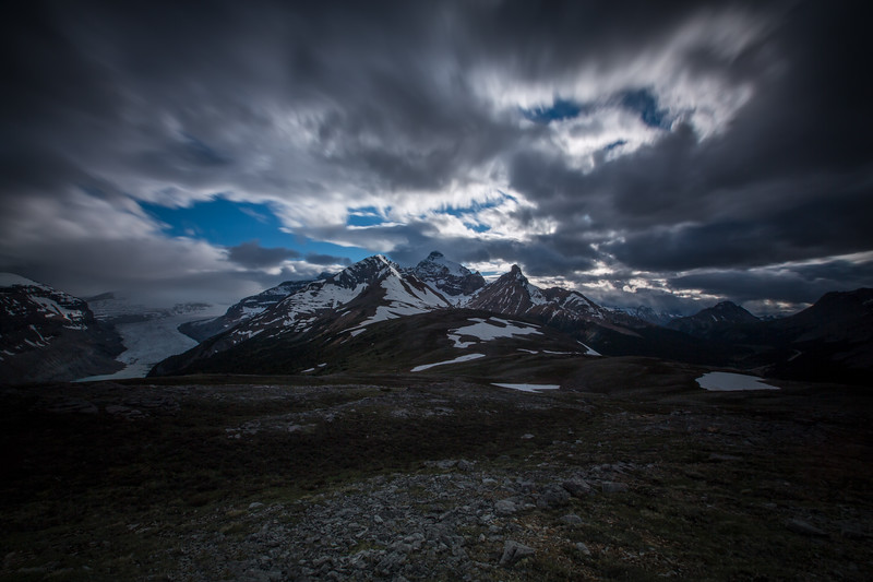 Clouds over Parker Ridge and Athabasca Glacier