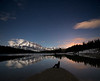 Person under night sky, Banff National Park