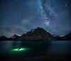 Paddleboarding under stars