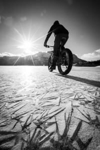 Fat bike on frozen Abraham Lake