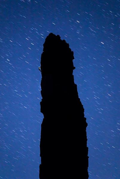 Night climbing Grand Sentinel