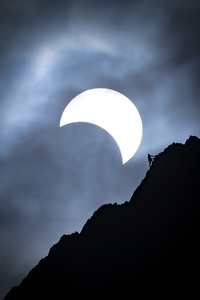 Climber in front of Solar Eclipse, August 2017