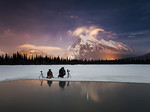 Photographers under night sky at Vermilion Lakes
