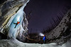 """Ice Dreams"" V, Nighttime Ice Climbing at Haffner Creek, Kootenay National Park, BC, Canada."