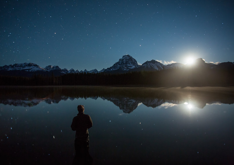 """Starry Stillness"" I, Self-portrait, Island Lake, Banff National Park, Alberta, Canada."
