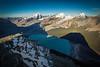 A man overlooks a glacier, Mount Robson Provincial Park, British Columbia, Canada