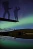 """Walking The Plank"", June 8th 2014 aurora at Herbert Lake, Banff National Park, Alberta, Canada."