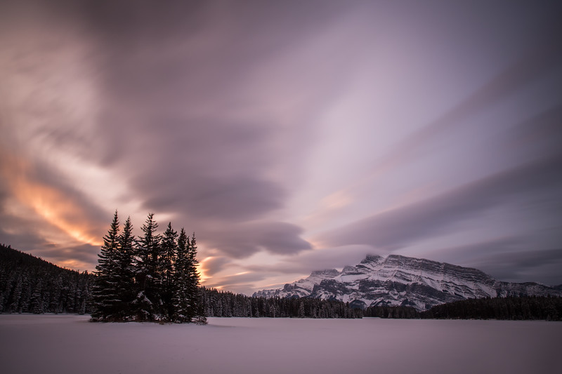 """Frigid Sunrise"", Two Jack Lake, Banff National Park, Alberta, Canada."