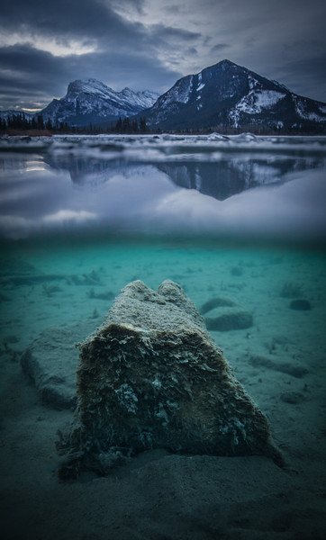 """Emerging Icon""  An underwater look at Vermilion Lakes, Banff National Park, Alberta, Canada."