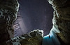 """Ice Dreams"" III, Nighttime Ice Climbing at Haffner Creek, Kootenay National Park, BC, Canada."