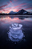 """Frozen Sunrise"" I, Vermilion Lakes, Banff National Park, Alberta, Canada."