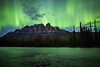 """Emerald Dreams"" III, June 8th 2014 Aurora at Castle Mountain, Banff National Park, Alberta, Canada."