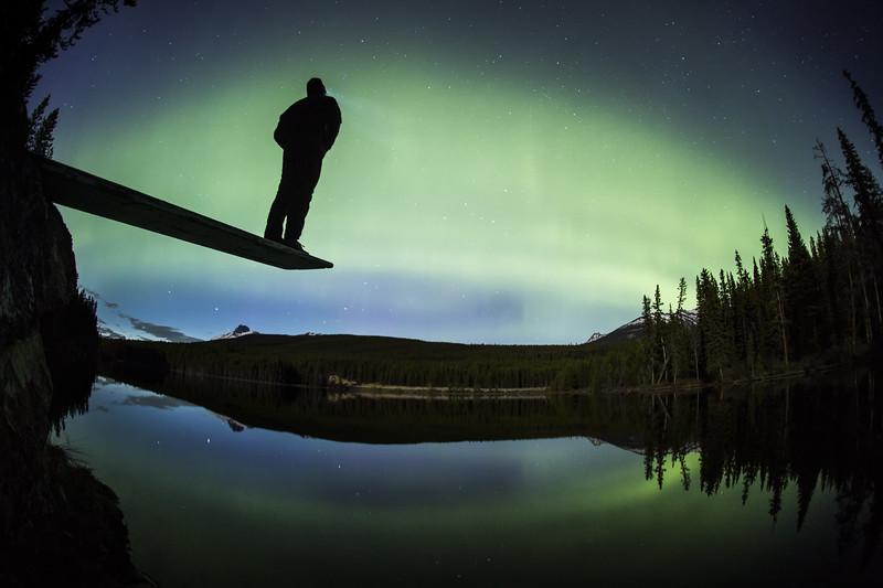 """Alone with the Aurora"" I, Herbert Lake, Banff National Park, Alberta, Canada."
