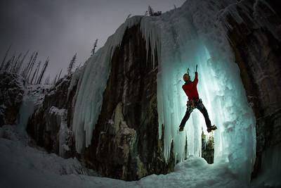 Haffner Creek Ice Climbing, Kootenay National Park, BC, Canada.
