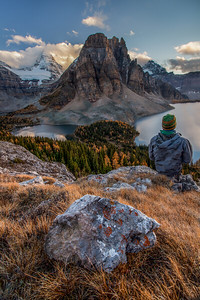 Man on The Niblet, Mount Assinboine Provincial Park, British Columbia, Canada