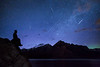 """Minnewanka Meteors""<br /> <br /> Composite of the Camelopardalis meteor shower (and a hint of aurora borealis), Lake Minnewanka, Banff National Park, Alberta, Canada."