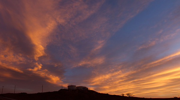 Sunset over water tanks, Chinle, AZ, April 30, 2013.