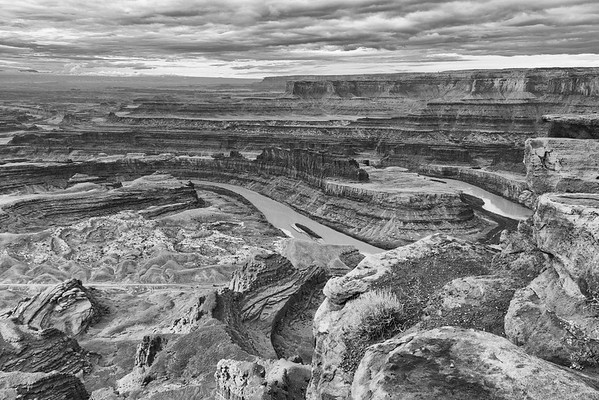 Island in the Sky District of Canyonlands National Park as seen from Dead Horse Point State Park, Utah.  Colorado River in the center and on the right.