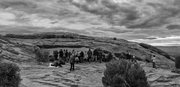 Mesa Arch (foreground) in Canyonlands National Park, Utah.
