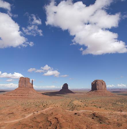 L to R:  Left Mitten Butte, Right Mitten Butte, Merrick Butte in Monument Valley Navajo Tribal Park.