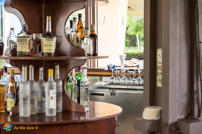 Display of alcohol at a couples resort bar