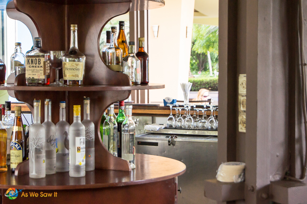 Display of alcohol at a couples resort bar