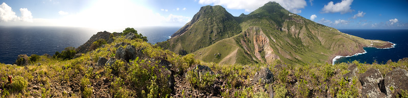 Panorama of the entire island of Saba, Netherlands.