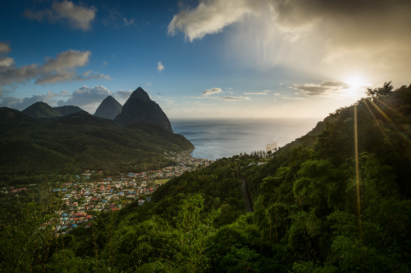 """Visions of St. Lucia"" XIV, Soufriere valley and Pitons."