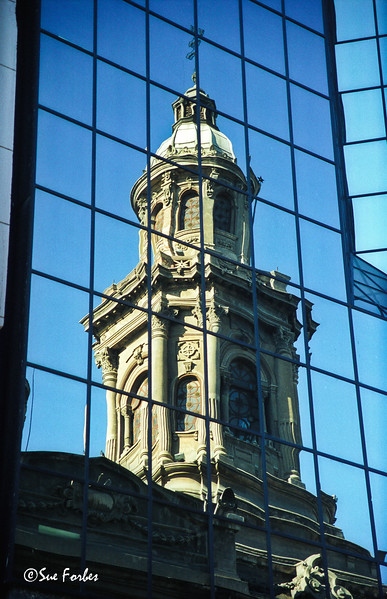 Metropolitan Cathedral, Santiago<br /> Reflection of the old Matropolitan Cathedral in the new office tower opposite.  Santiago, Chile