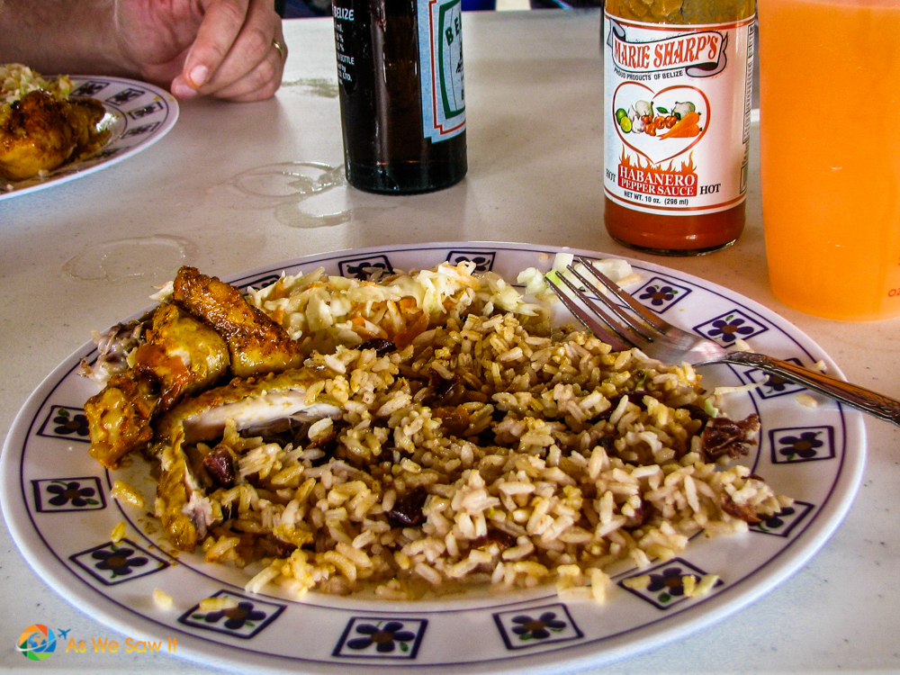 chicken and rice lunch in Belize