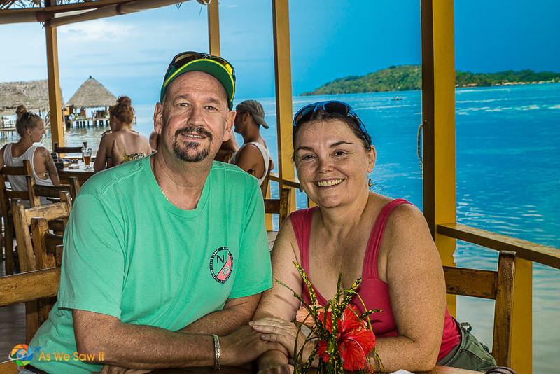 Dan & Linda posing for a photo at a restaurant in Bocas del Toro