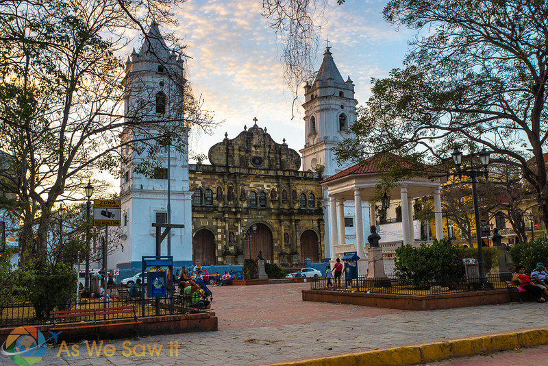Church in Panama City's Casco Antiguo. Trees, sidewalk, gazebo and public square in foreground.