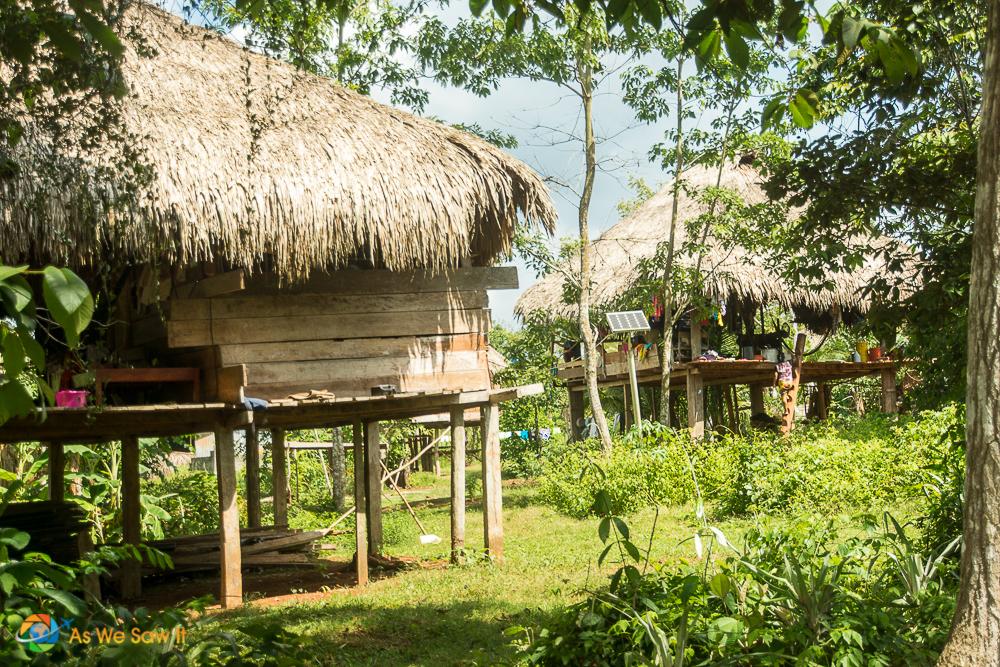 Traditional Embera huts on stilts