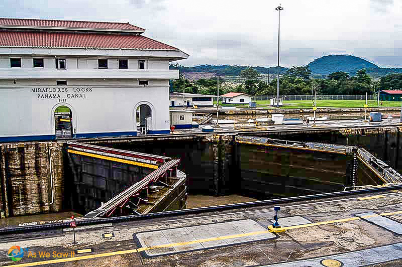 The Miraflores locks on the pacific side of the panama canal