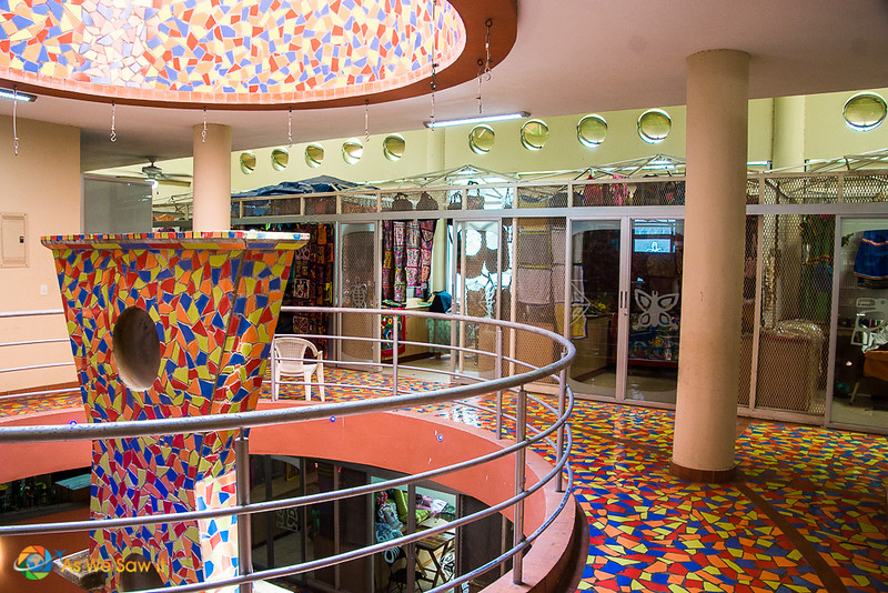 Colorful mosaic interior of the gift shop at Panama Viejo Museum