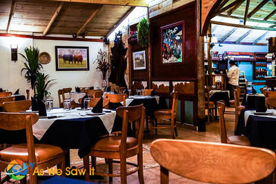 The dining area of Patagonia Grill has the nice rustic feel of a ranch