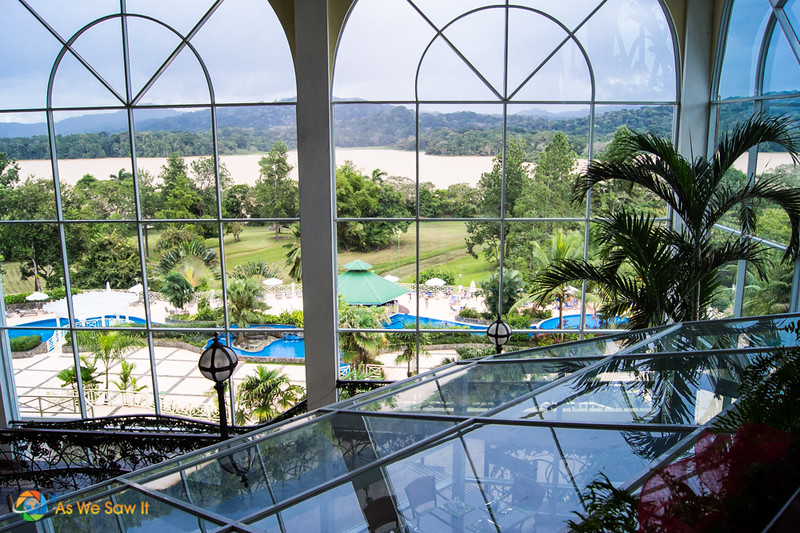 View of Rio Chagres and the resort pool through a window of Gamboa Rainforest Resort.