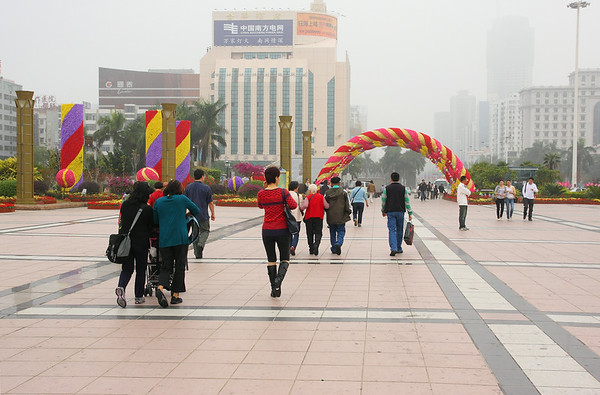 A very foggy morning in Zhuhai City as we head to our van.