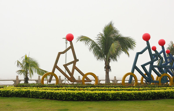 A sculpture along the watefront.