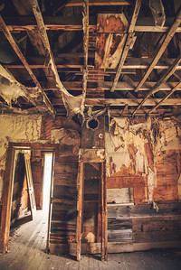 Inside a cabin with chimney at Animas Forks