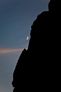 Crescent moon over the Palisades well after sunset. Taken from the upper portion of the Arch trail, Palisades rock formation. Yes, we hiked down this trail in the dark.