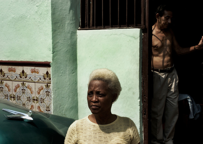Couple outside there house.<br /> Havana, Cuba, 2006.