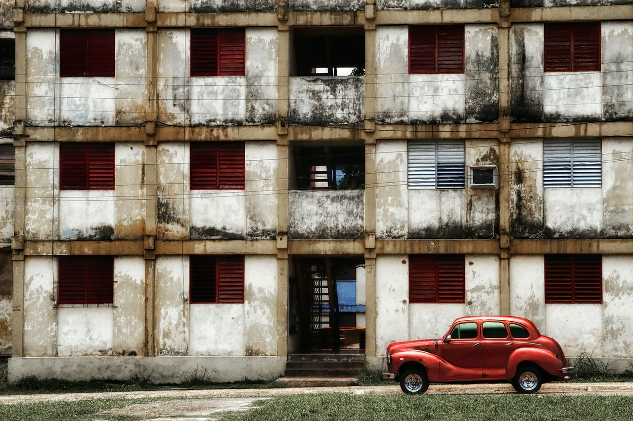 The visual aspect of the older part of Havana resembles in places the destruction suffered by cities in Europe during World War II.<br /> <br />  Havana, Cuba, 2006.