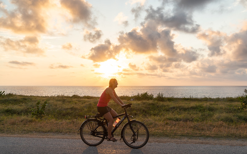 Cycling in sunset