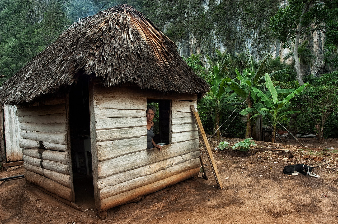 Traditional housing in the countryside surrounding Viñales.<br /> <br /> Cuba, 2006.