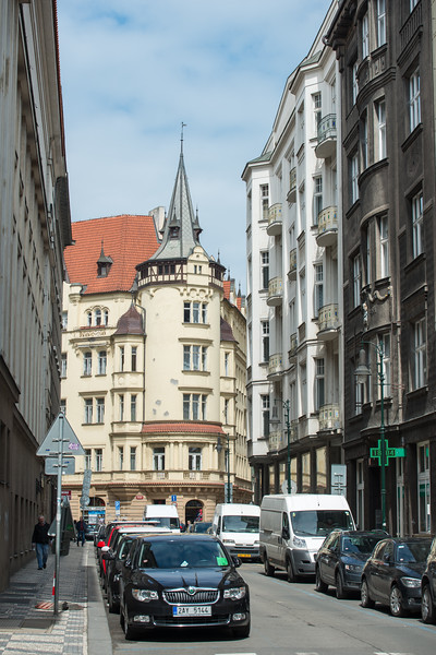 Street view architecture of Prague, Czech Republic.