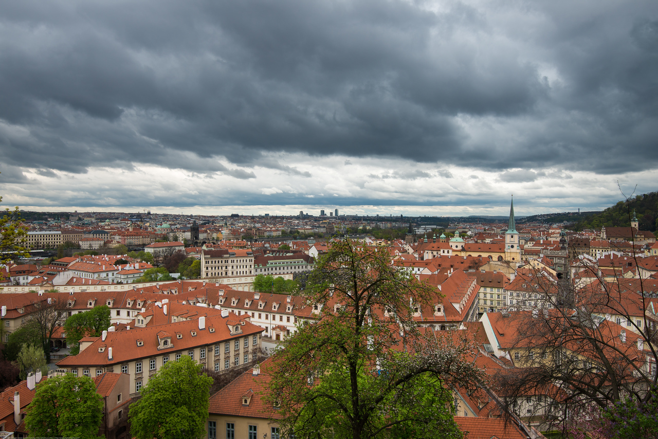Nice view of the city of Prague from Prague Castle.