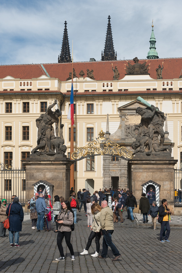 Plenty of visitors to Prague Castle. Prague, Czech Republic.
