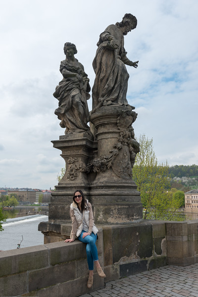 Charles Bridge, Prague, Czech Republic.<br /> The Charles Bridge (Czech: Karlův most) is a famous historic bridge that crosses the Vltava river. Its construction started in 1357 under the auspices of King Charles IV, and finished in the beginning of the 15th century. The avenue of 30 mostly baroque statues and statuaries situated on the balustrade forms a unique connection of artistic styles with the underlying gothic bridge. They depict various saints and patron saints venerated at that time.