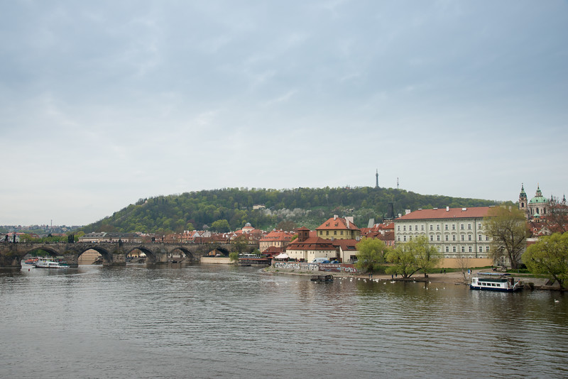 Vltava river view from Mánesův Most (bridge),Prague, Czech Republic.